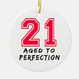 21 envejeció al diseño del cumpleaños de la perfec adorno de navidad