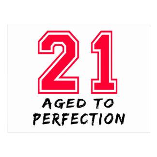 21 envejeció al diseño del cumpleaños de la perfec tarjetas postales