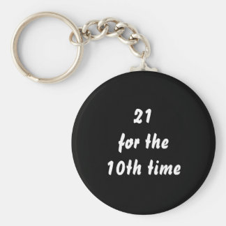 21 for the 10th time. 30th Birthday. Black White Basic Round Button Keychain