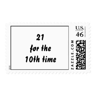 21 for the 10th time 30th Birthday Black White Postage Stamps