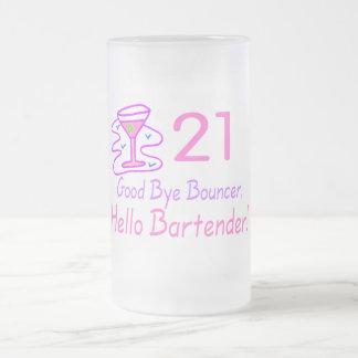 21 Good Bye Bouncer Hello Bartender (Pink) Frosted Glass Beer Mug