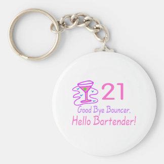 21 Good Bye Bouncer Hello Bartender (Pink) Basic Round Button Keychain