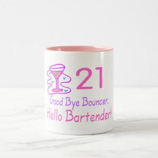 21 Good Bye Bouncer Hello Bartender (Pink) Two-Tone Coffee Mug