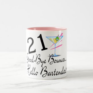 21 Good Bye Bouncer Hello Bartender Two-Tone Coffee Mug