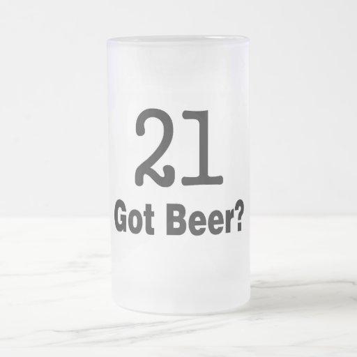 21 Got Beer 16 Oz Frosted Glass Beer Mug