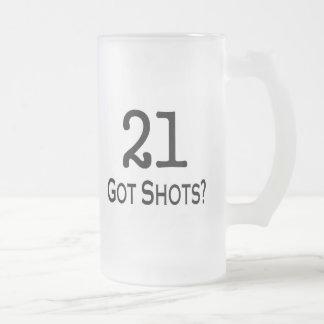 21 Got Shots Frosted Glass Beer Mug