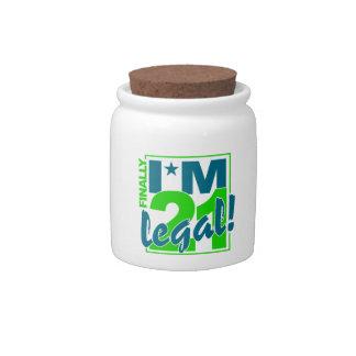 21 & LEGAL candy jar