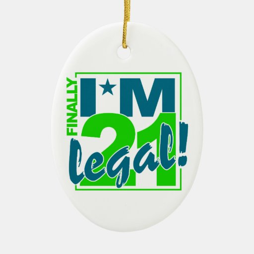 21 & LEGAL ornament, customize Double-Sided Oval Ceramic Christmas Ornament