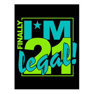 21 & LEGAL postcard, customize Postcard