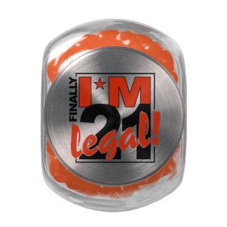 21 & LEGAL tins & jars Glass Candy Jars
