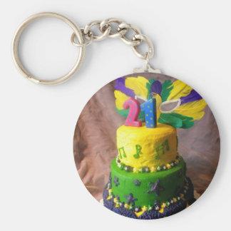 21 Mardi Gras Cake Keychain