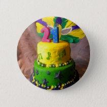 21 Mardi Gras Cake Pinback Button