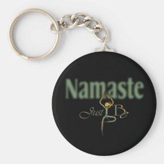 21 Namaste Basic Round Button Keychain
