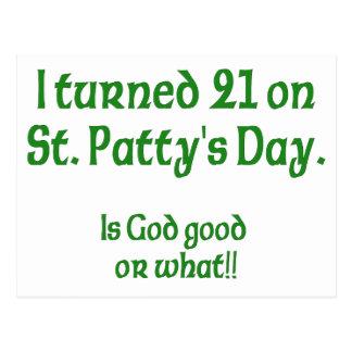 "21 on St Patty""s Day Postcard"