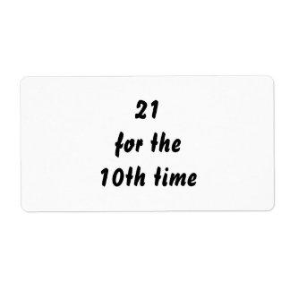 21 por la 10ma vez. trigésimo Cumpleaños. Blanco Etiquetas De Envío