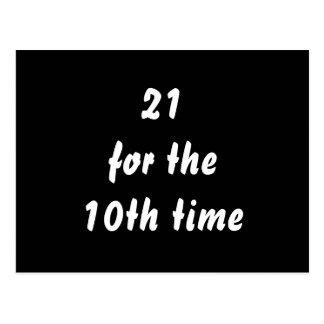 21 por la 10ma vez. trigésimo Cumpleaños. Blanco n Tarjeta Postal
