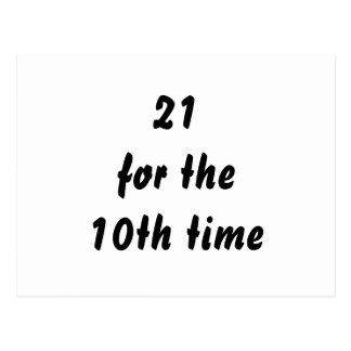 21 por la 10ma vez. trigésimo Cumpleaños. Blanco Postales
