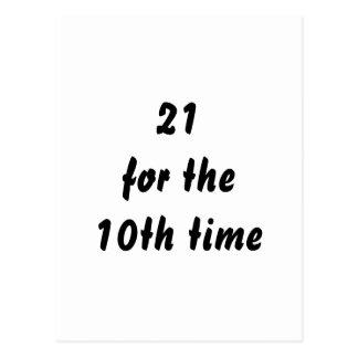 21 por la 10ma vez. trigésimo Cumpleaños. Blanco Postal