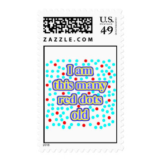 21 Red Dots Old Postage Stamp