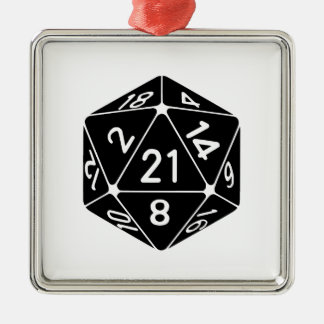 21 Sided 21st Birthday D20 Fantasy Gamer Die Metal Ornament