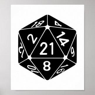 21 Sided 21st Birthday D20 Fantasy Gamer Die Poster
