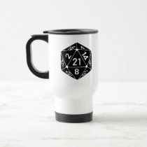 21 Sided 21st Birthday D20 Fantasy Gamer Die Travel Mug