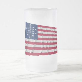 21-star flag, Cut Diamond pattern 16 Oz Frosted Glass Beer Mug