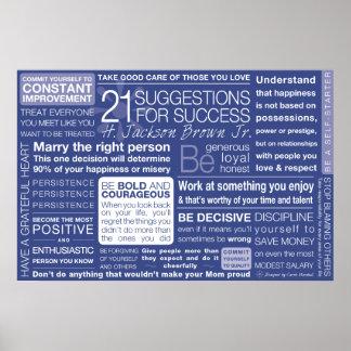 21 sugerencias para el éxito - azul póster