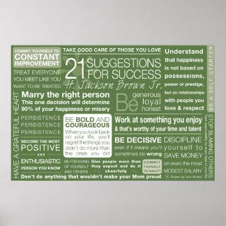21 sugerencias para el éxito - verde póster