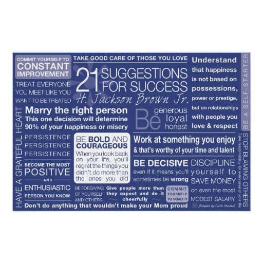 21 Suggestions for Success - Blue Poster
