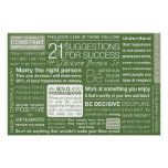 21 Suggestions for Success - Green Poster