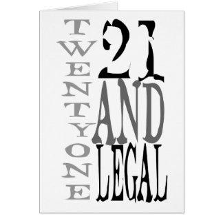 21 Twenty One Twentyth Birthday Legal Card