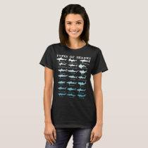 21 Types of Sharks Marine Biology T-Shirt