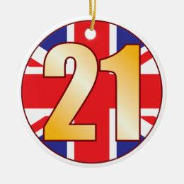 21 UK Gold Ceramic Ornament