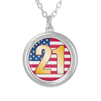 21 USA Gold.pdf Silver Plated Necklace