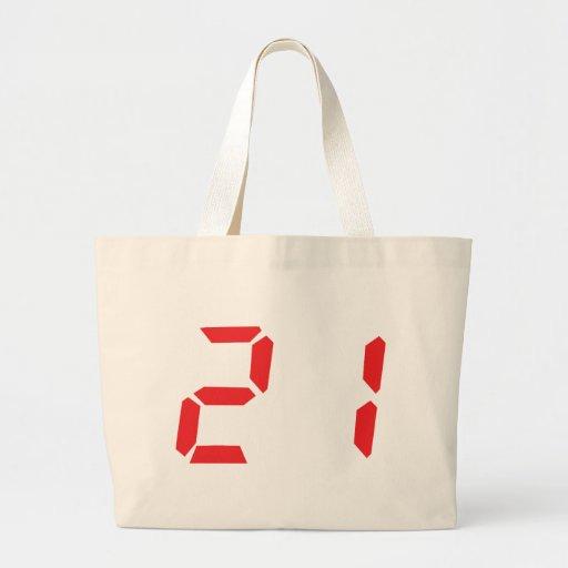 21 veintiuno números digitales del despertador del bolsa tela grande