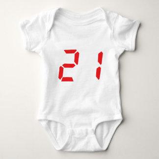 21 veintiuno números digitales del despertador del remeras