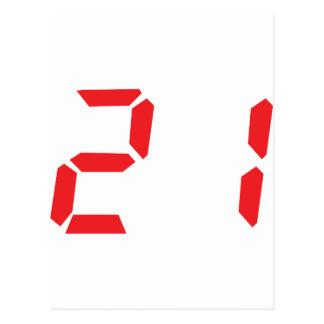 21 veintiuno números digitales del despertador del postales