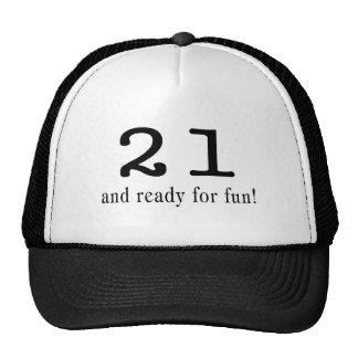 21 y aliste para el negro de la diversión gorras