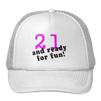 21 y aliste para el rosa de la diversión gorro de camionero