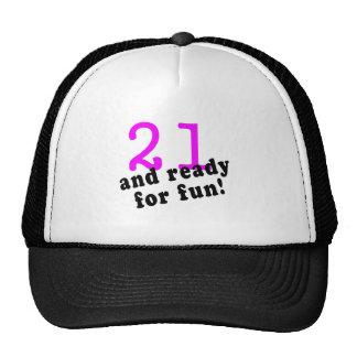 21 y aliste para el rosa de la diversión gorra