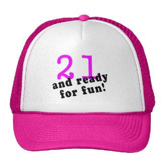 21 y aliste para el rosa de la diversión gorras