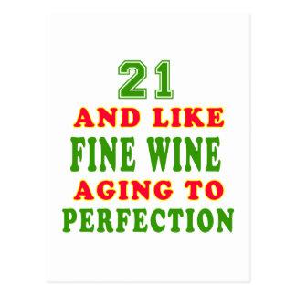 21 y como diseños del cumpleaños del vino fino postales