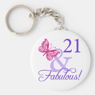 21 y cumpleaños fabuloso llavero redondo tipo pin