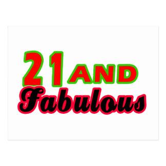 21 y diseños fabulosos del cumpleaños tarjetas postales