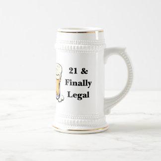 21 y finalmente legal jarra de cerveza