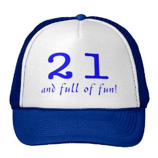 21 y lleno de azul de la diversión gorro de camionero