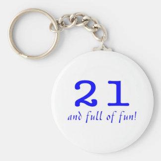 21 y lleno de azul de la diversión llavero