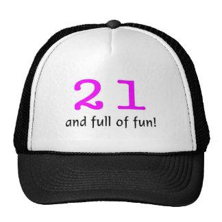 21 y lleno de negro del rosa de la diversión gorra