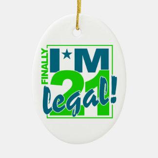 21 y ornamento LEGAL, personalizar Adorno Navideño Ovalado De Cerámica